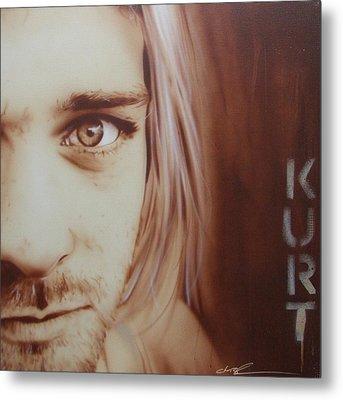 Kurt Cobain - ' Daddys Little Girl Aint A Girl No More ' Metal Print by Christian Chapman Art