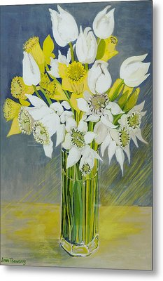 Daffodils And White Tulips In An Octagonal Glass Vase Metal Print by Joan Thewsey