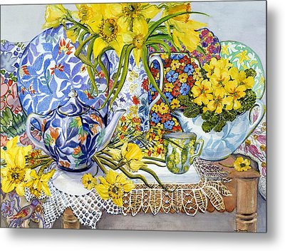 Daffodils Antique Jugs Plates Textiles And Lace Metal Print by Joan Thewsey