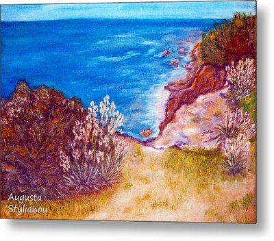 Daffodils At The Beach Metal Print by Augusta Stylianou