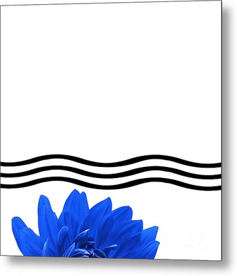 Dahlia Flower And Wavy Lines Triptych Canvas 1 - Blue Metal Print by Natalie Kinnear