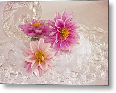 Metal Print featuring the photograph Dahlias And Lace by Sandra Foster