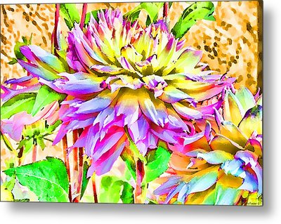 Metal Print featuring the photograph Dahlias In Digital Watercolor by Sandra Foster