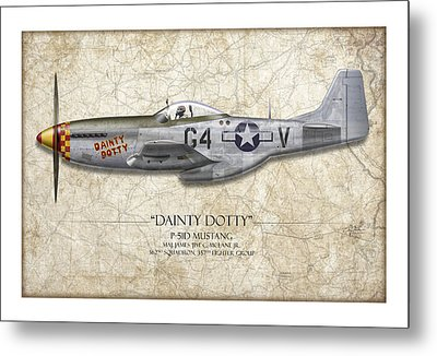 Dainty Dotty P-51d Mustang - Map Background Metal Print by Craig Tinder