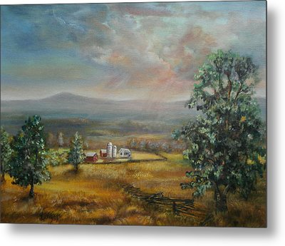 Metal Print featuring the painting Dairy Farm Pennsylvania by  Luczay