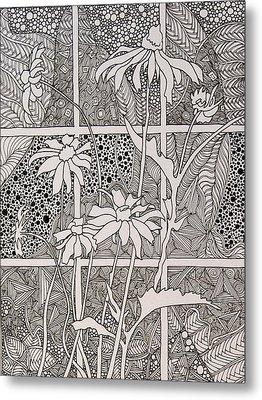 Daisies In A Window Metal Print