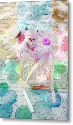Pot Of Daisies 01a - Du Bonheur En Pot Metal Print by Variance Collections