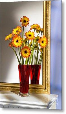 Daisies In Red Vase Metal Print by Tony Cordoza