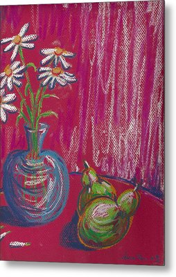 Daisies On Red Table Metal Print