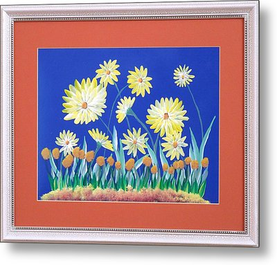 Metal Print featuring the painting Daisies by Ron Davidson