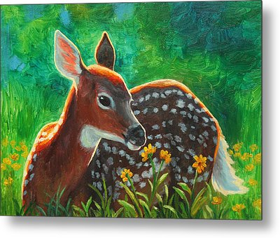 Daisy Deer Metal Print by Crista Forest