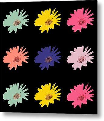 Daisy Flower In Pop Art Metal Print