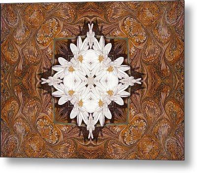 Daisy Pattern Mandakal - L0103b Metal Print