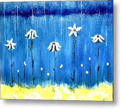 Daisy Rain Blue Metal Print by Denise Tomasura