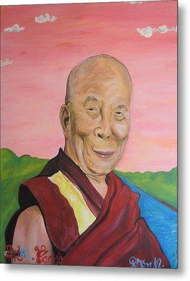 Dalai Lama Portrait Metal Print by Erik Franco
