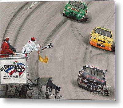 Dale Earnhardt Wins Daytona 500-checkered Flag Metal Print by Paul Kuras