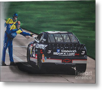 Dale Earnhardt Wins Daytona 500-pit Road Hand Shake Metal Print by Paul Kuras