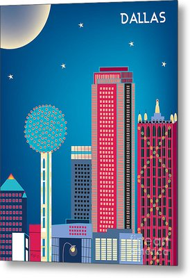 Dallas Nightime Skyline Metal Print by Karen Young