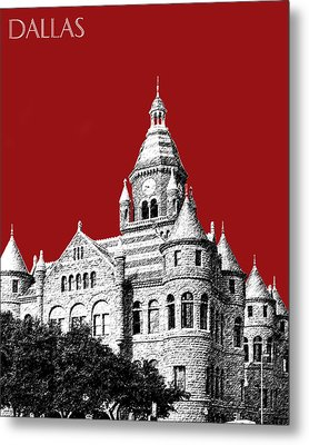 Dallas Skyline Old Red Courthouse - Dark Red Metal Print