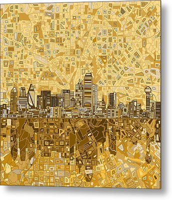 Dallas Skyline Abstract 6 Metal Print