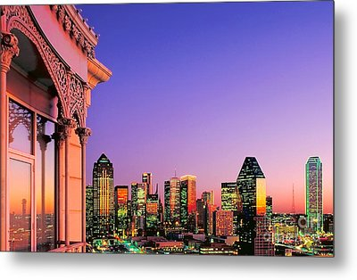 Dallas Skyline At Dusk Metal Print by David Perry Lawrence