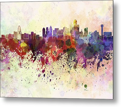 Dallas Skyline In Watercolor Background Metal Print