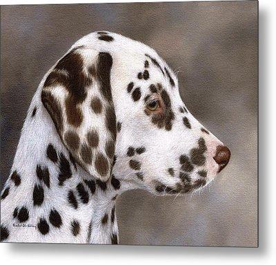 Dalmatian Puppy Painting Metal Print by Rachel Stribbling