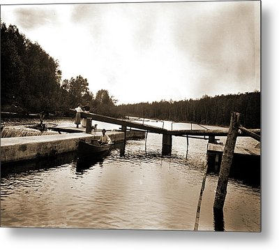 Dam And Lock, Saranac River, Adirondack Mtns Metal Print by Litz Collection
