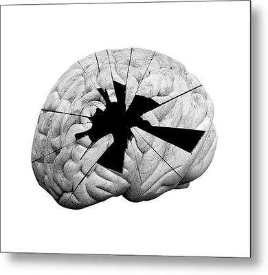 Damaged Human Brain Metal Print by Victor De Schwanberg
