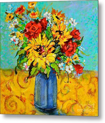 Damask Sunflowers Metal Print by Sharon Furner