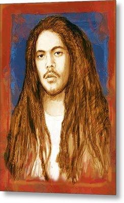 Damian Marley - Stylised Drawing Art Poster Metal Print by Kim Wang