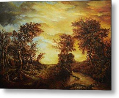 Dan Scurtu - Forest At Sunset Metal Print by Dan Scurtu