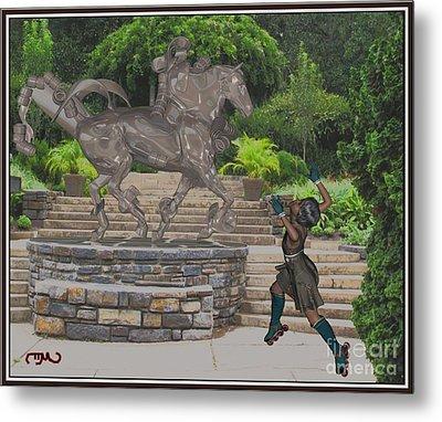 Dance Around The Statue Dats1 Metal Print by Pemaro