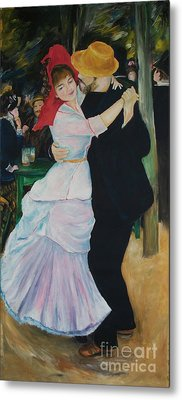 Metal Print featuring the painting Dance At Bougival Renoir by Eric  Schiabor