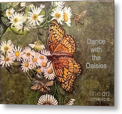 Metal Print featuring the painting Dance With The Daisies With An Inspirational Quote by Kimberlee Baxter