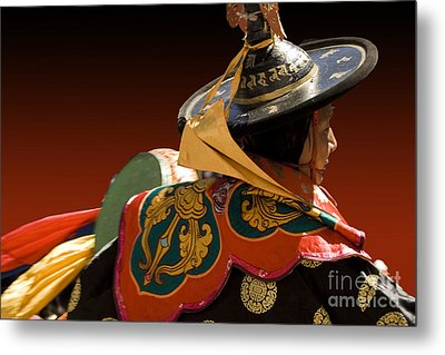 Metal Print featuring the digital art Dancer From Bhutan by Angelika Drake