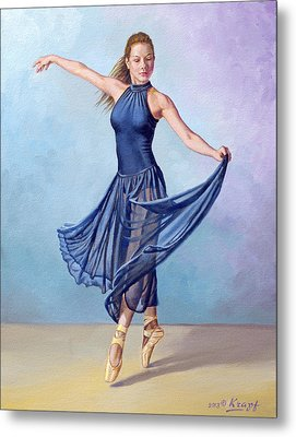 Dancer In Dark Blue Metal Print by Paul Krapf
