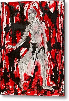 Dancer In Red And Black Metal Print by Brenda Clews