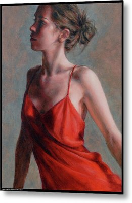 Dancer In Red Slip Metal Print by Diana Moses Botkin
