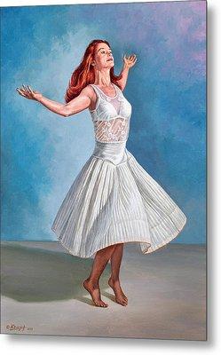 Dancer In White Metal Print