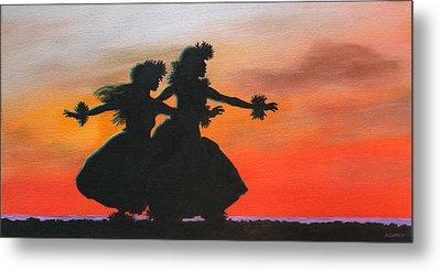 Dancers At Sunset Metal Print by Wahine Art