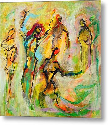 Metal Print featuring the painting Dancers by Mary Schiros