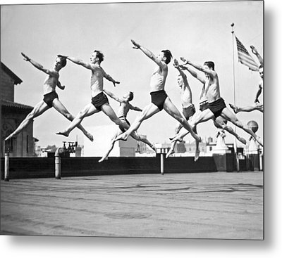 Dancers Practice On A Rooftop. Metal Print