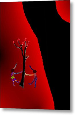 Metal Print featuring the digital art Dancing Around A Tree by Asok Mukhopadhyay
