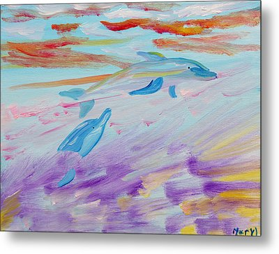 Metal Print featuring the painting Dancing Dolphins by Meryl Goudey