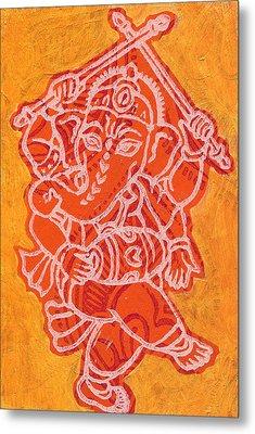 Dancing Ganesha Orange Metal Print