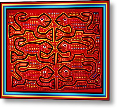 Metal Print featuring the digital art Dancing Geckos by Vagabond Folk Art - Virginia Vivier