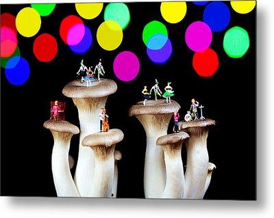 Dancing On Mushroom Under Starry Night Metal Print by Paul Ge