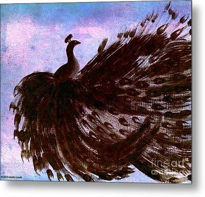Dancing Peacock Blue Pink Wash Metal Print by Anita Lewis