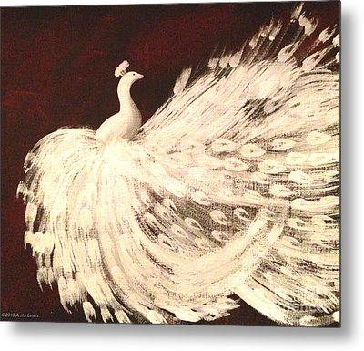 Dancing Peacock Cream Metal Print by Anita Lewis